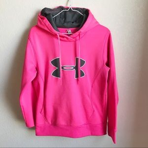 Under Armour • Pink Logo Hoodie, semi-fitted, Sm